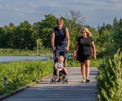 Family walking the docks