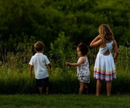Group of kids looking out into the fields