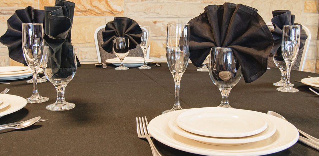 Table decorated black and white for reception