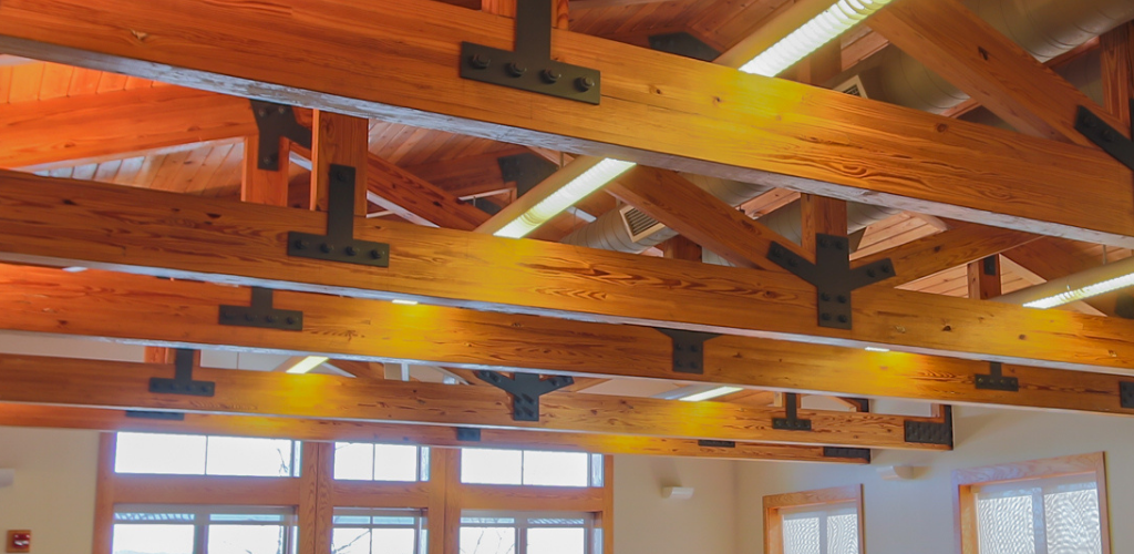 Wooden ceiling support beams